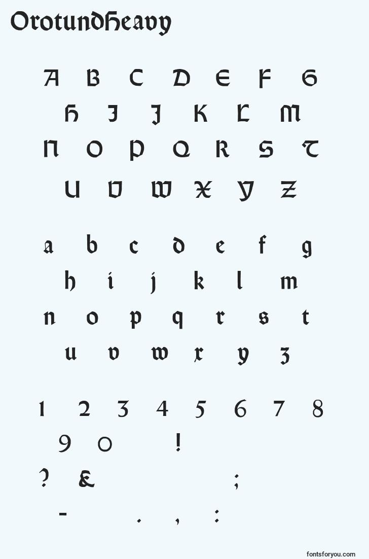 characters of orotundheavy font, letter of orotundheavy font, alphabet of  orotundheavy font