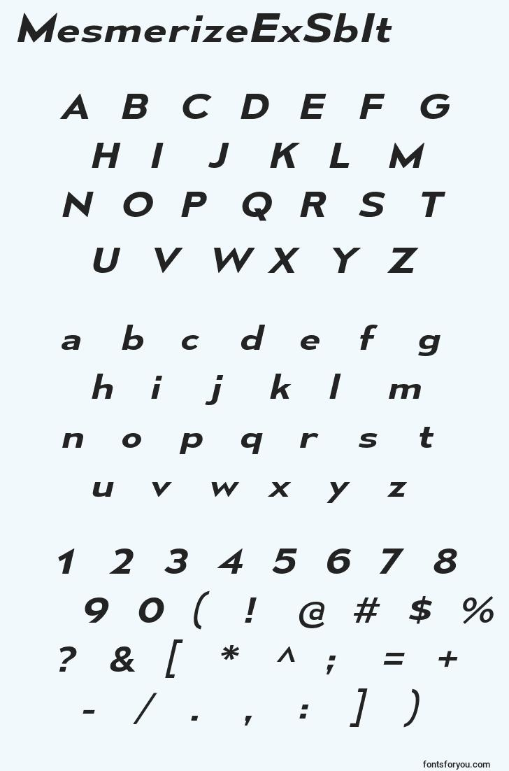 characters of mesmerizeexsbit font, letter of mesmerizeexsbit font, alphabet of  mesmerizeexsbit font