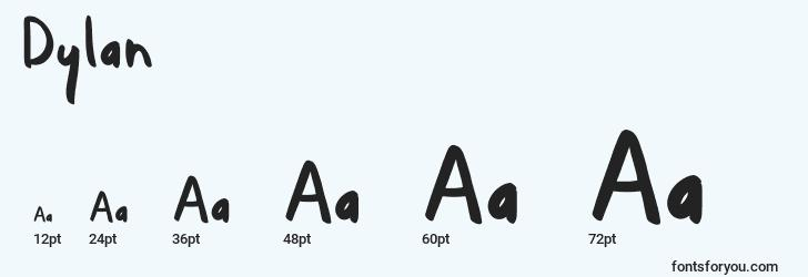 sizes of dylan font, dylan sizes