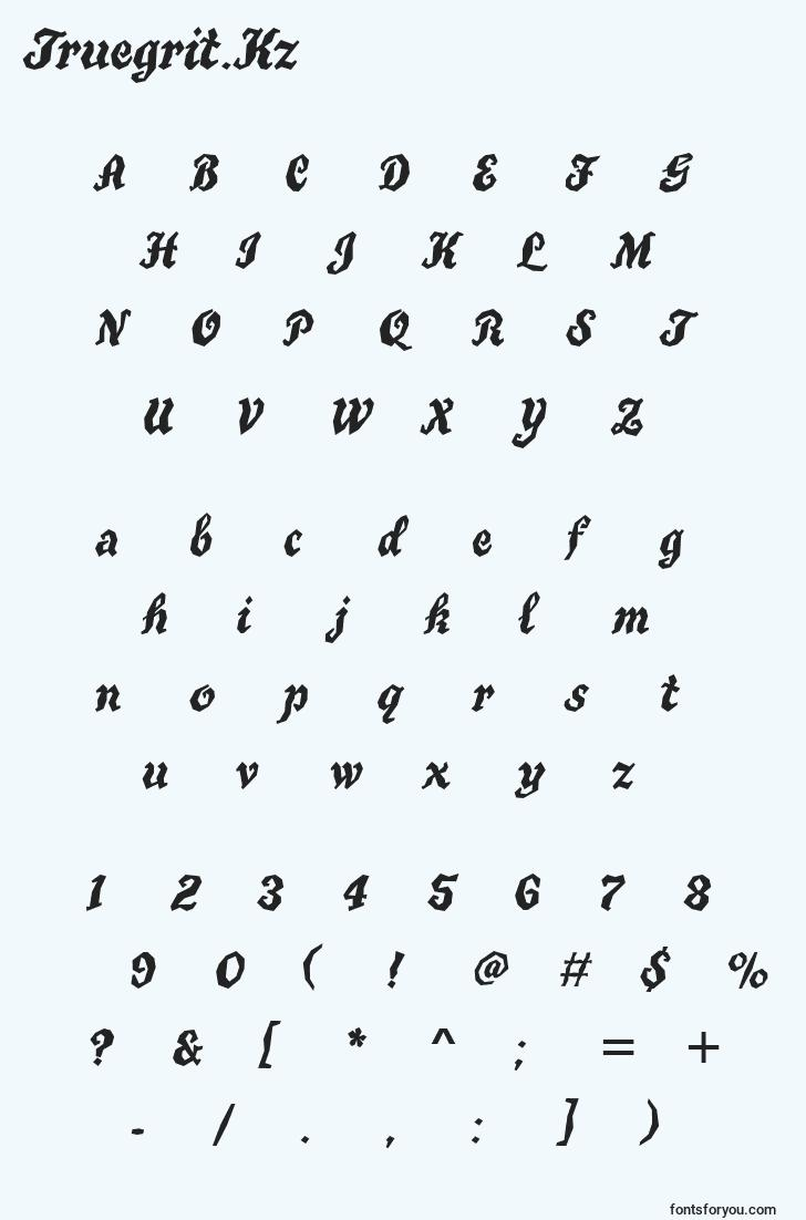 characters of truegrit.kz font, letter of truegrit.kz font, alphabet of  truegrit.kz font