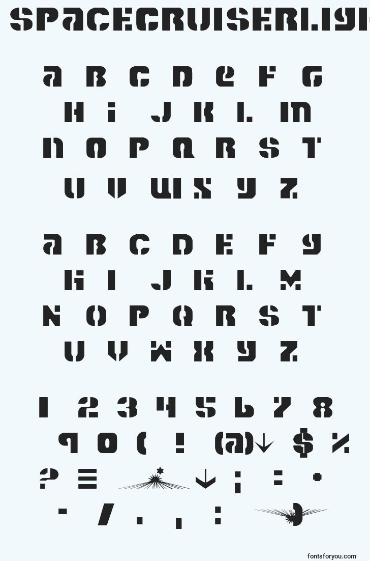 characters of spacecruiserlight font, letter of spacecruiserlight font, alphabet of  spacecruiserlight font