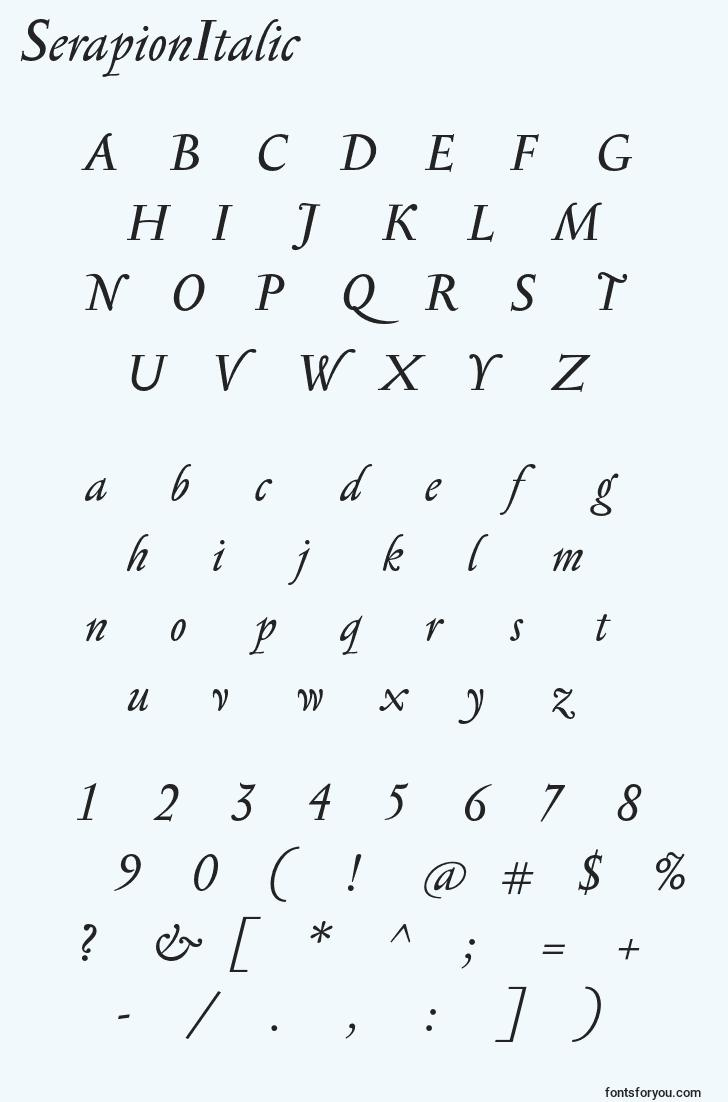 characters of serapionitalic font, letter of serapionitalic font, alphabet of  serapionitalic font