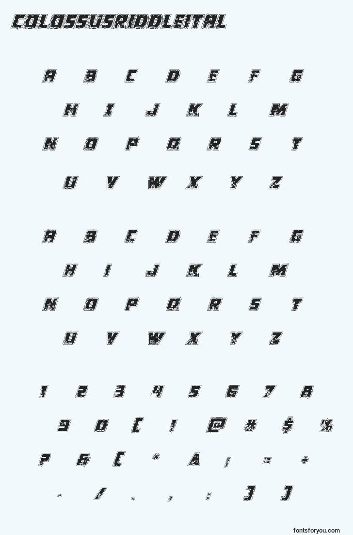 characters of colossusriddleital font, letter of colossusriddleital font, alphabet of  colossusriddleital font