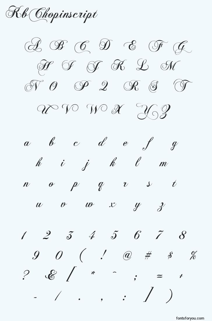 characters of kbchopinscript font, letter of kbchopinscript font, alphabet of  kbchopinscript font