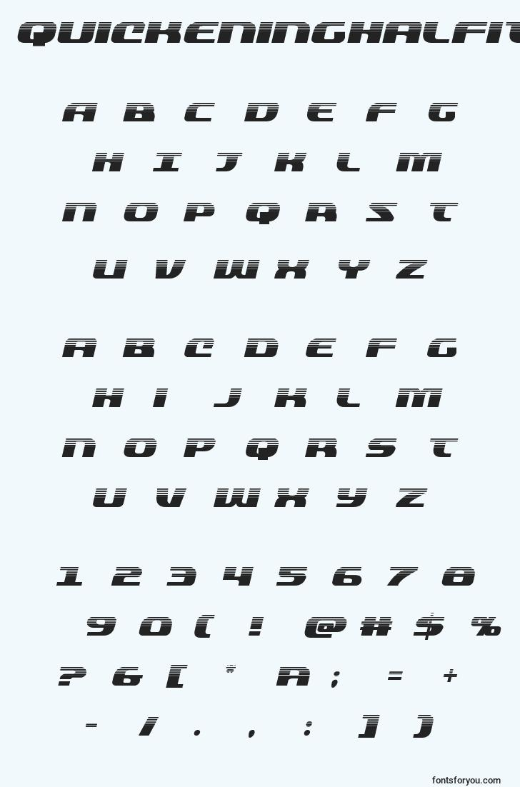characters of quickeninghalfital font, letter of quickeninghalfital font, alphabet of  quickeninghalfital font