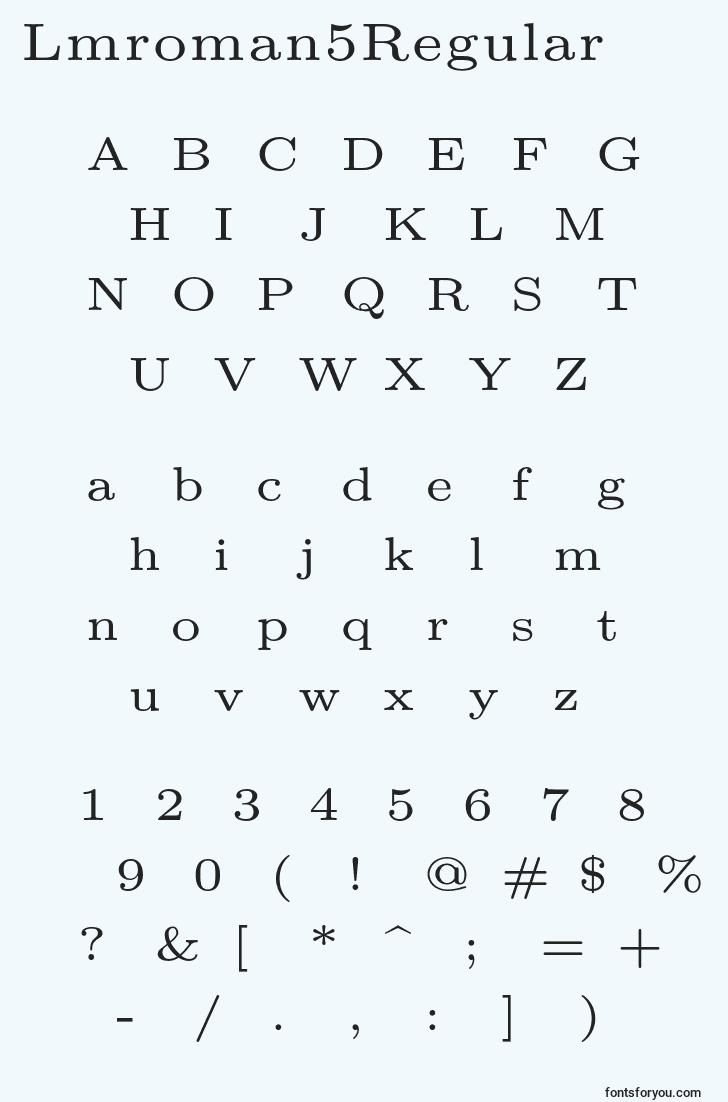 characters of lmroman5regular font, letter of lmroman5regular font, alphabet of  lmroman5regular font