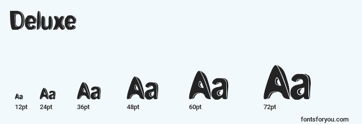 sizes of deluxe font, deluxe sizes
