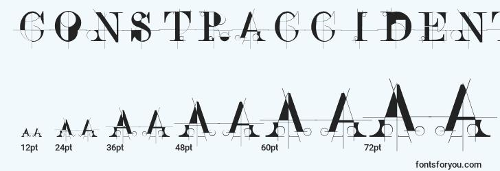 sizes of constraccident font, constraccident sizes