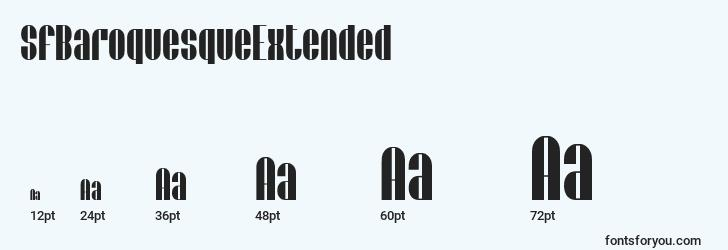 sizes of sfbaroquesqueextended font, sfbaroquesqueextended sizes