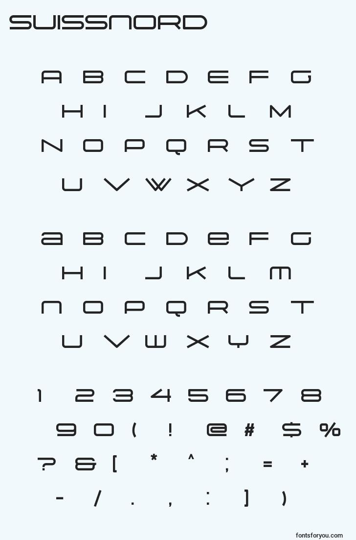 characters of suissnord font, letter of suissnord font, alphabet of  suissnord font