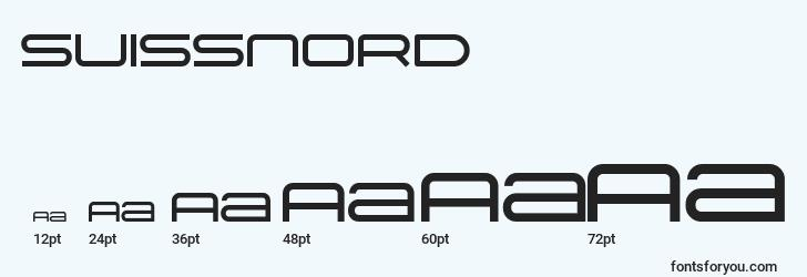 sizes of suissnord font, suissnord sizes
