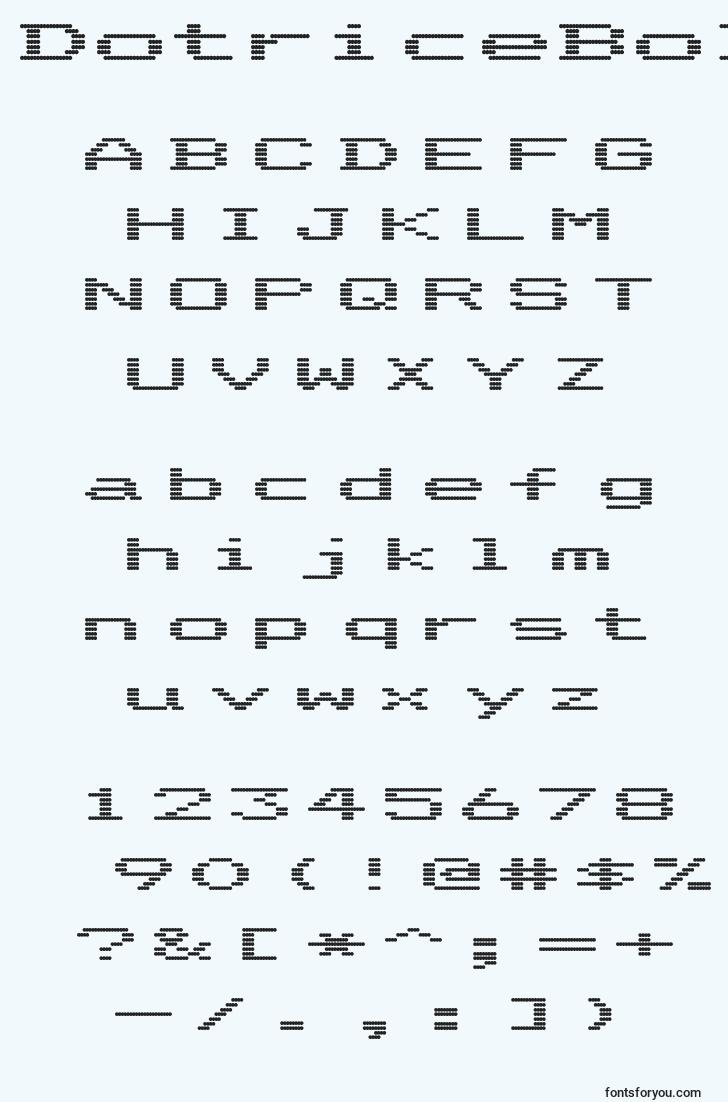 characters of dotriceboldexpanded font, letter of dotriceboldexpanded font, alphabet of  dotriceboldexpanded font