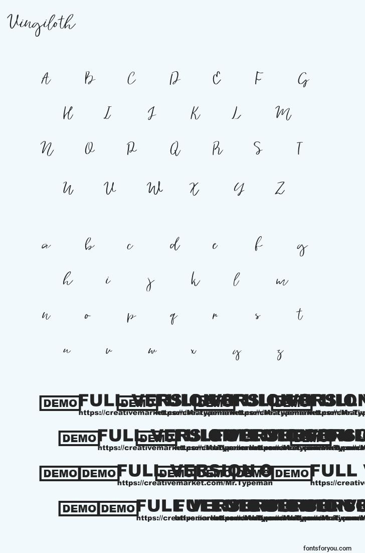 characters of vingiloth font, letter of vingiloth font, alphabet of  vingiloth font