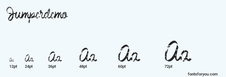 sizes of jumperdemo font, jumperdemo sizes