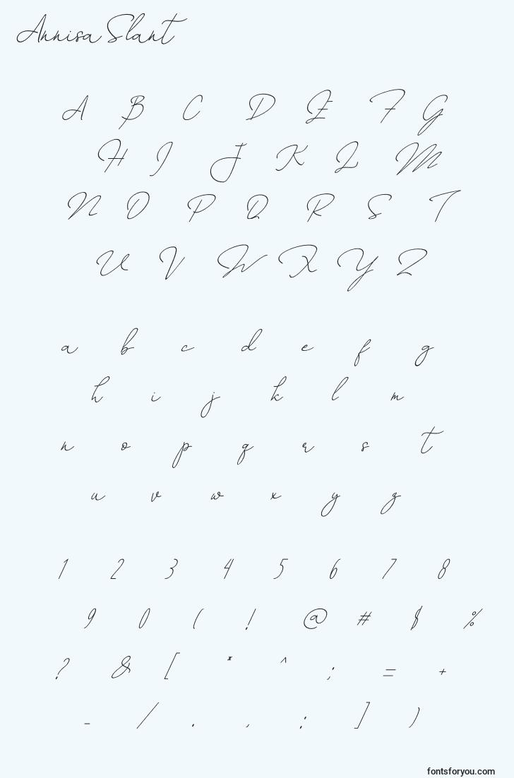 characters of annisaslant font, letter of annisaslant font, alphabet of  annisaslant font