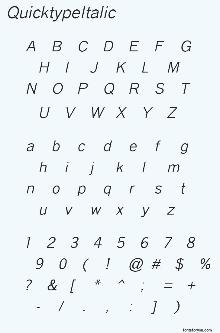 characters of quicktypeitalic font, letter of quicktypeitalic font, alphabet of  quicktypeitalic font