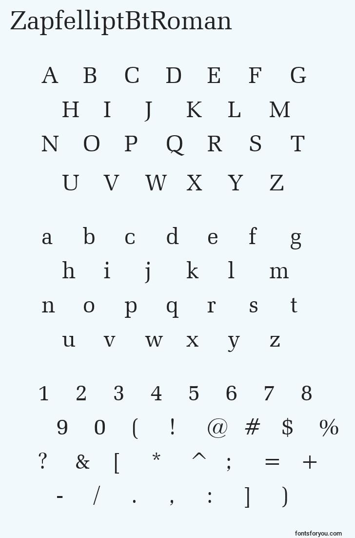characters of zapfelliptbtroman font, letter of zapfelliptbtroman font, alphabet of  zapfelliptbtroman font