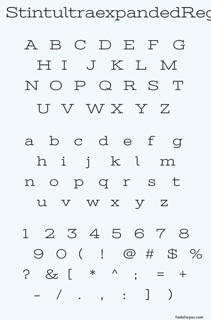 characters of stintultraexpandedregular font, letter of stintultraexpandedregular font, alphabet of  stintultraexpandedregular font