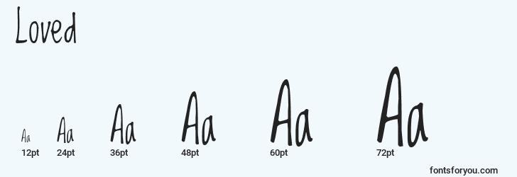 sizes of loved font, loved sizes