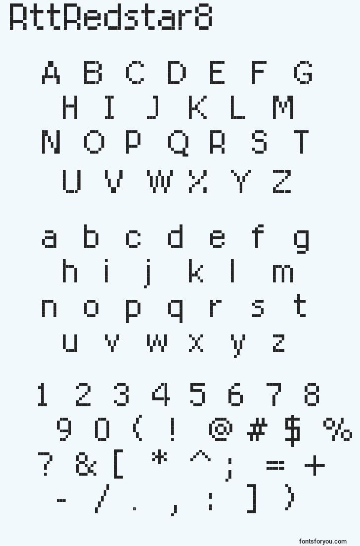 characters of rttredstar8 font, letter of rttredstar8 font, alphabet of  rttredstar8 font