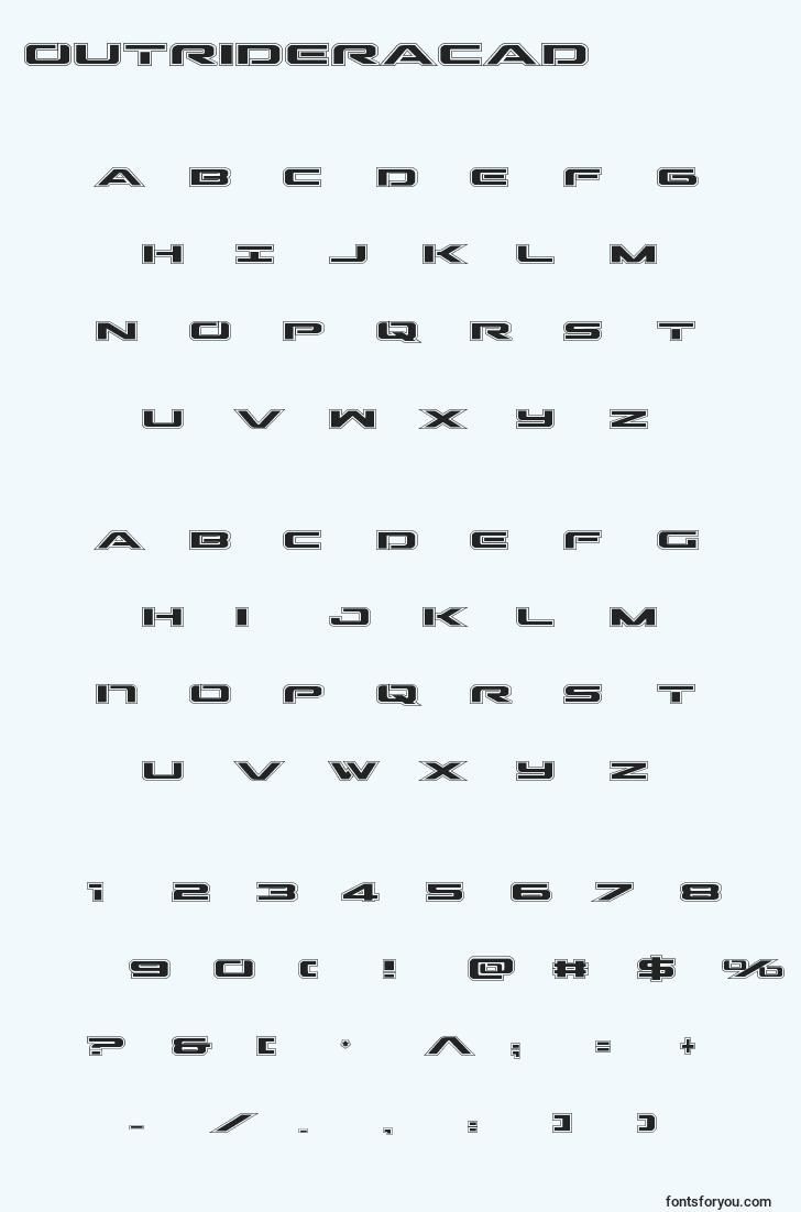 characters of outrideracad font, letter of outrideracad font, alphabet of  outrideracad font
