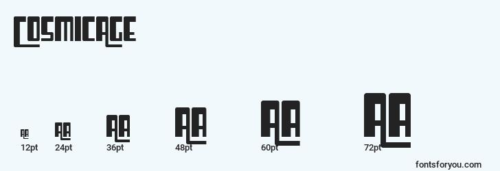 sizes of cosmicage font, cosmicage sizes