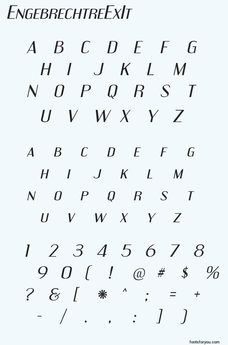 characters of engebrechtreexit font, letter of engebrechtreexit font, alphabet of  engebrechtreexit font
