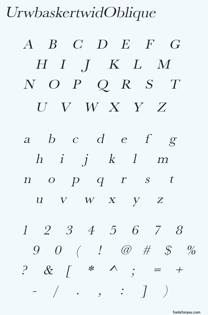 characters of urwbaskertwidoblique font, letter of urwbaskertwidoblique font, alphabet of  urwbaskertwidoblique font