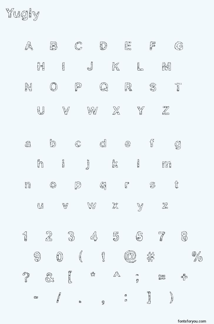 characters of yugly font, letter of yugly font, alphabet of  yugly font