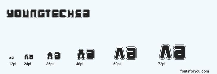 sizes of youngtechsa font, youngtechsa sizes