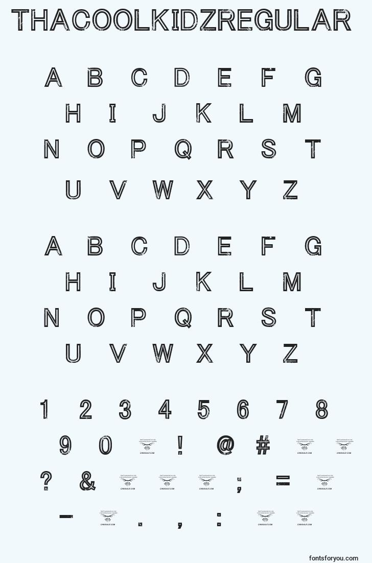 characters of thacoolkidzregular font, letter of thacoolkidzregular font, alphabet of  thacoolkidzregular font