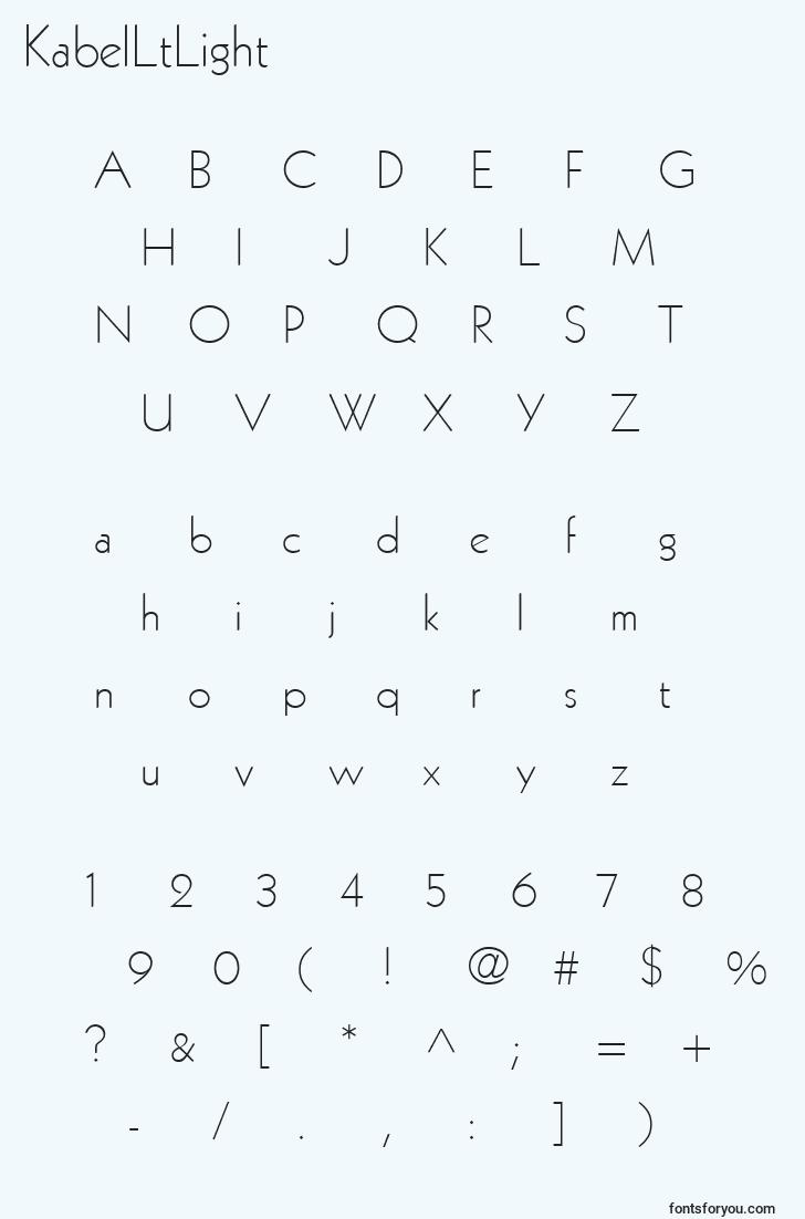 characters of kabelltlight font, letter of kabelltlight font, alphabet of  kabelltlight font