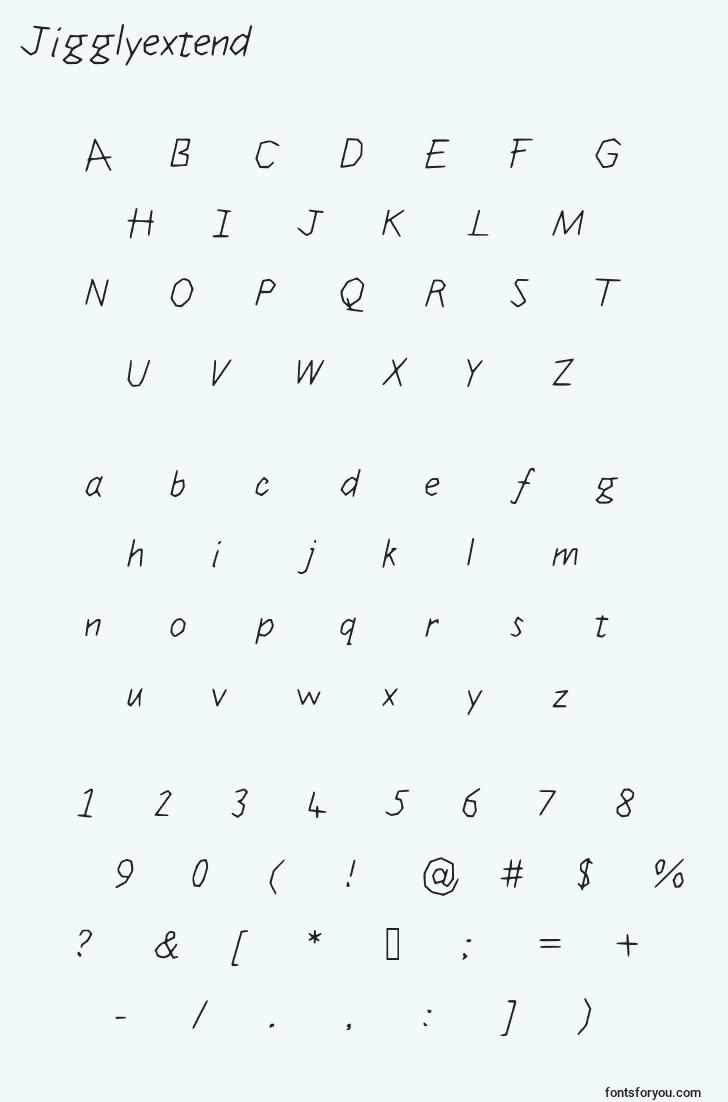 characters of jigglyextend font, letter of jigglyextend font, alphabet of  jigglyextend font
