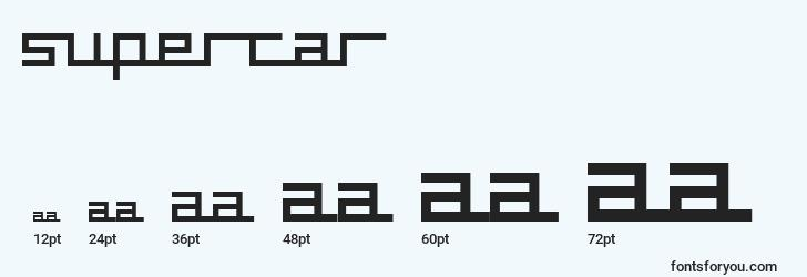 sizes of supercar font, supercar sizes