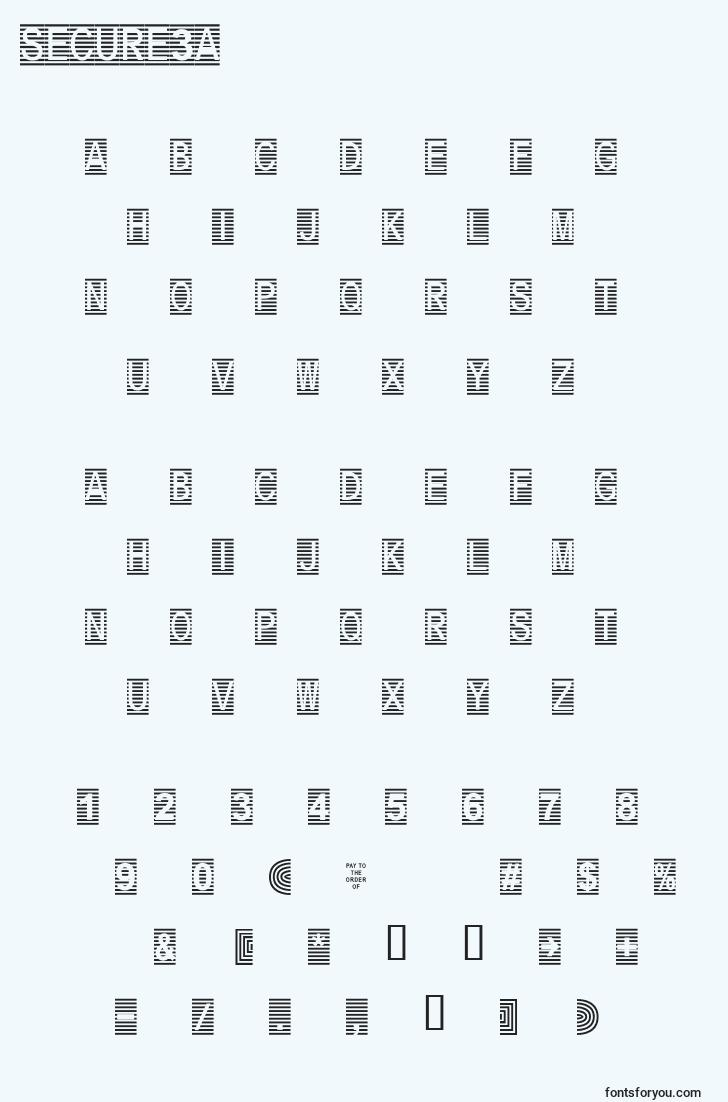 characters of secure3a font, letter of secure3a font, alphabet of  secure3a font