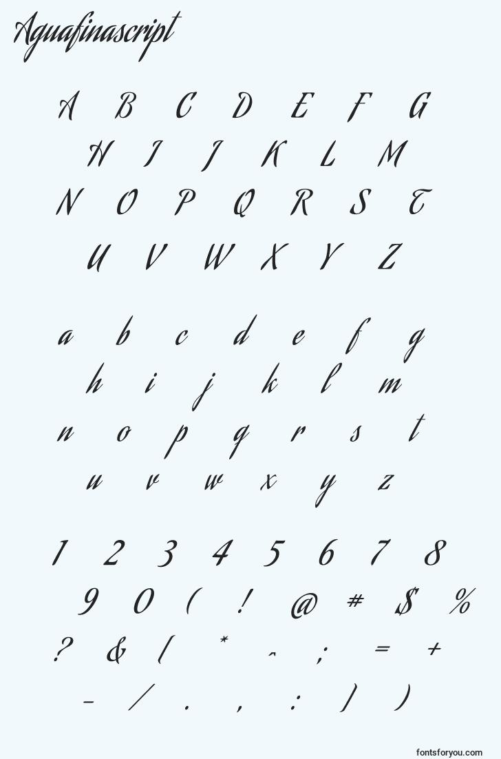 characters of aguafinascript font, letter of aguafinascript font, alphabet of  aguafinascript font