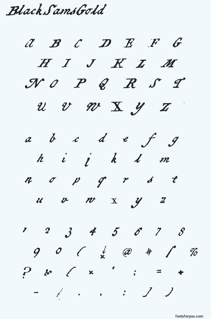 characters of blacksamsgold font, letter of blacksamsgold font, alphabet of  blacksamsgold font