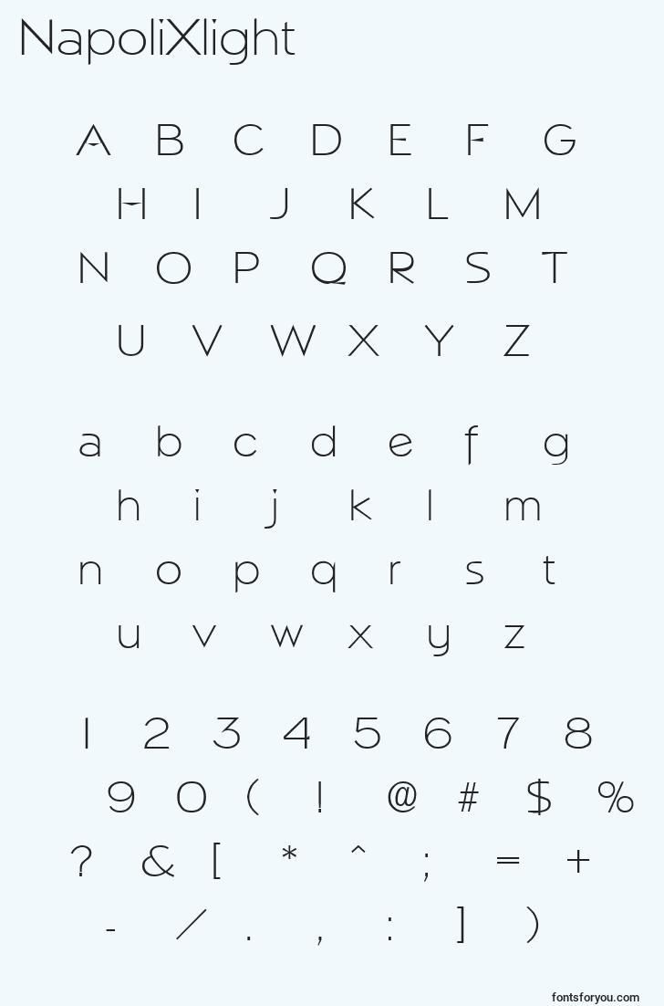 characters of napolixlight font, letter of napolixlight font, alphabet of  napolixlight font