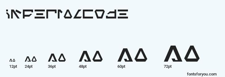 sizes of imperialcode font, imperialcode sizes