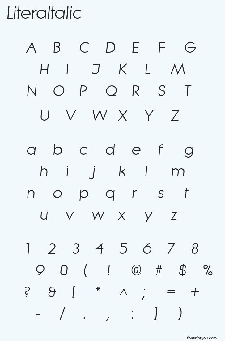 characters of literaitalic font, letter of literaitalic font, alphabet of  literaitalic font