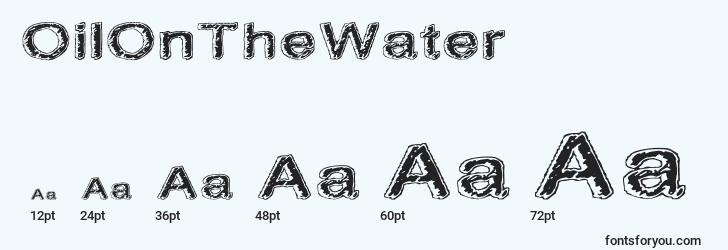 sizes of oilonthewater font, oilonthewater sizes