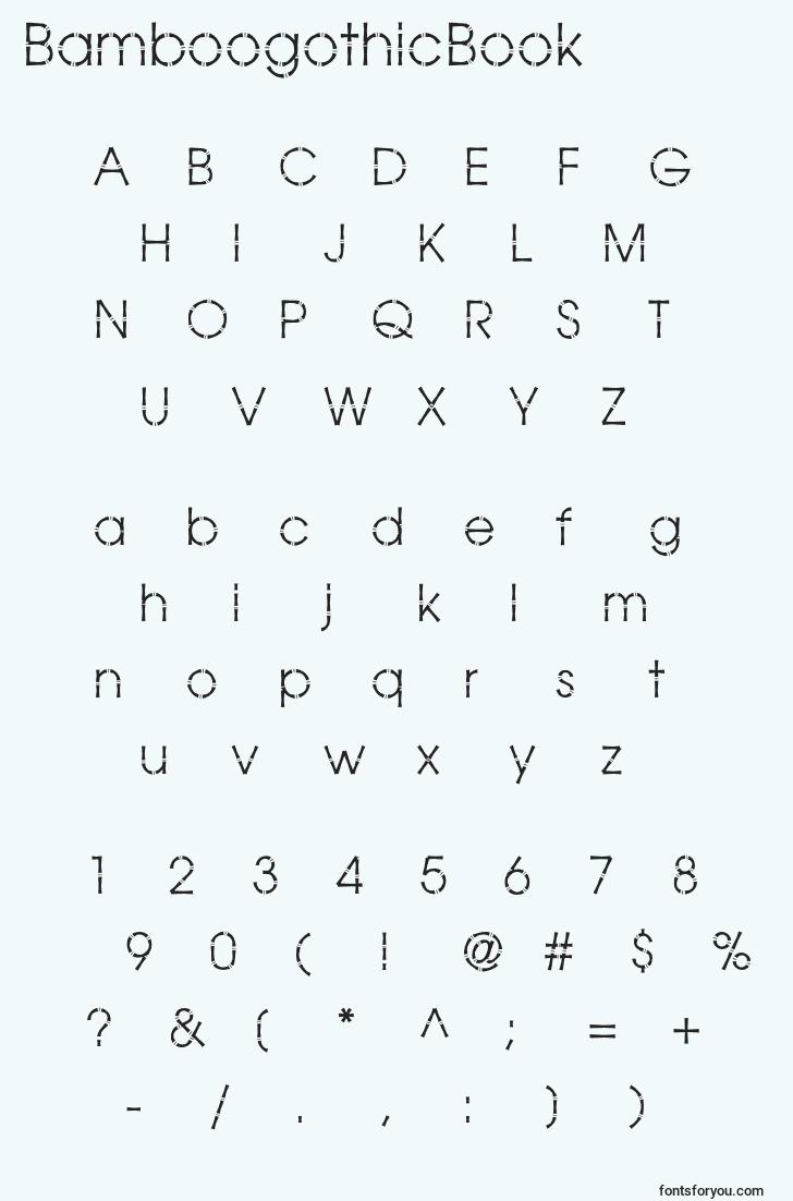 characters of bamboogothicbook font, letter of bamboogothicbook font, alphabet of  bamboogothicbook font