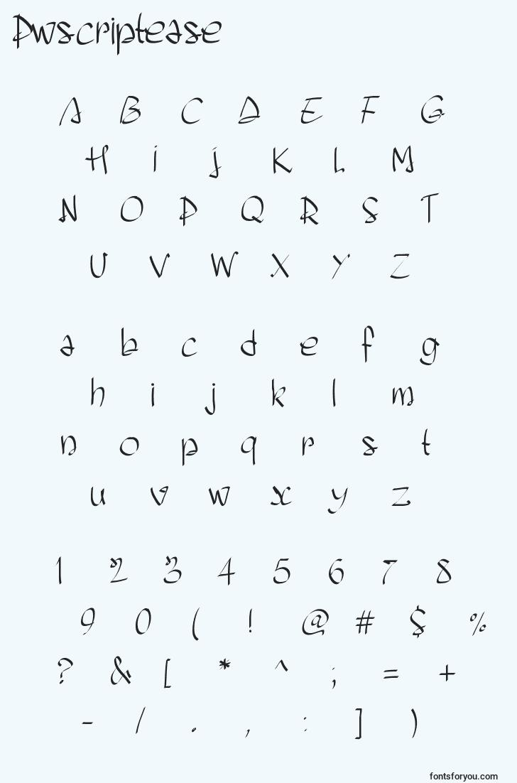characters of pwscriptease font, letter of pwscriptease font, alphabet of  pwscriptease font