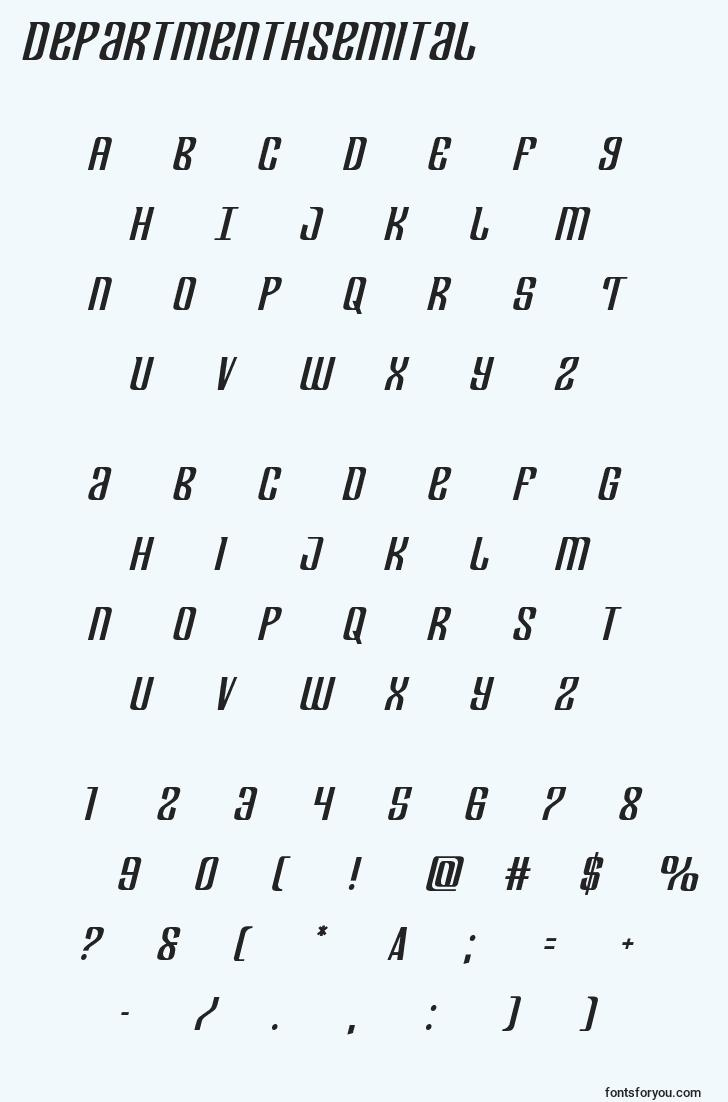 characters of departmenthsemital font, letter of departmenthsemital font, alphabet of  departmenthsemital font