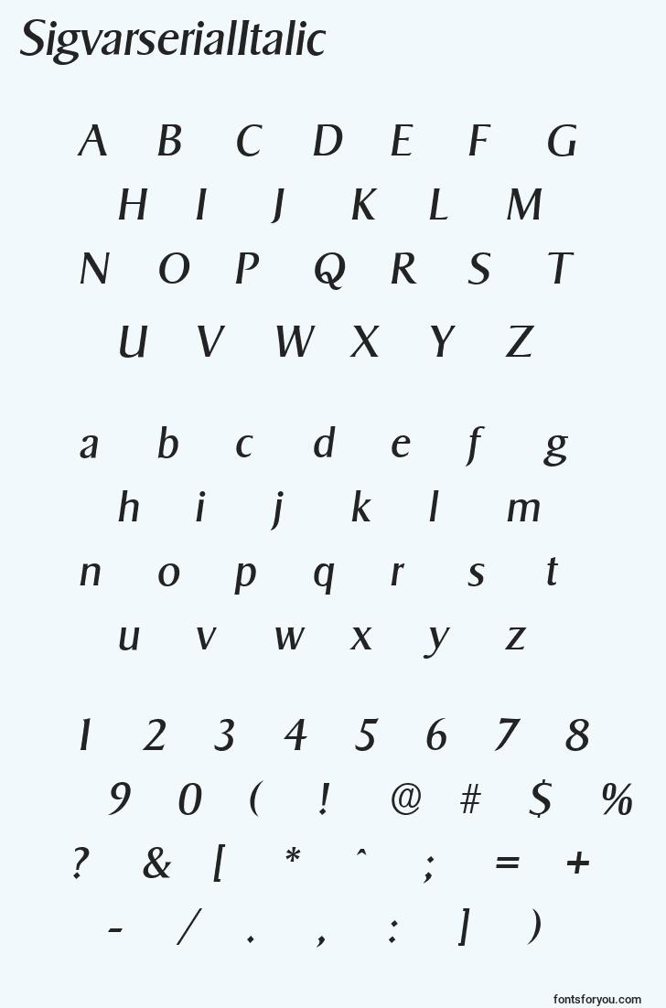 characters of sigvarserialitalic font, letter of sigvarserialitalic font, alphabet of  sigvarserialitalic font