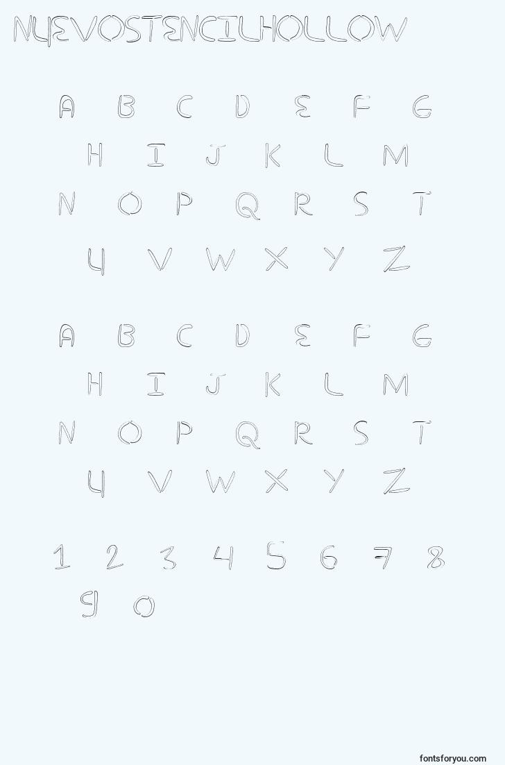 characters of nuevostencilhollow font, letter of nuevostencilhollow font, alphabet of  nuevostencilhollow font