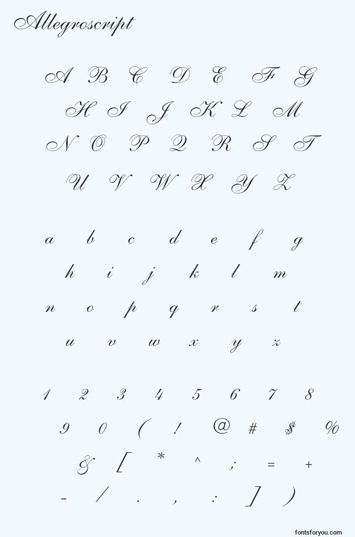 characters of allegroscript font, letter of allegroscript font, alphabet of  allegroscript font