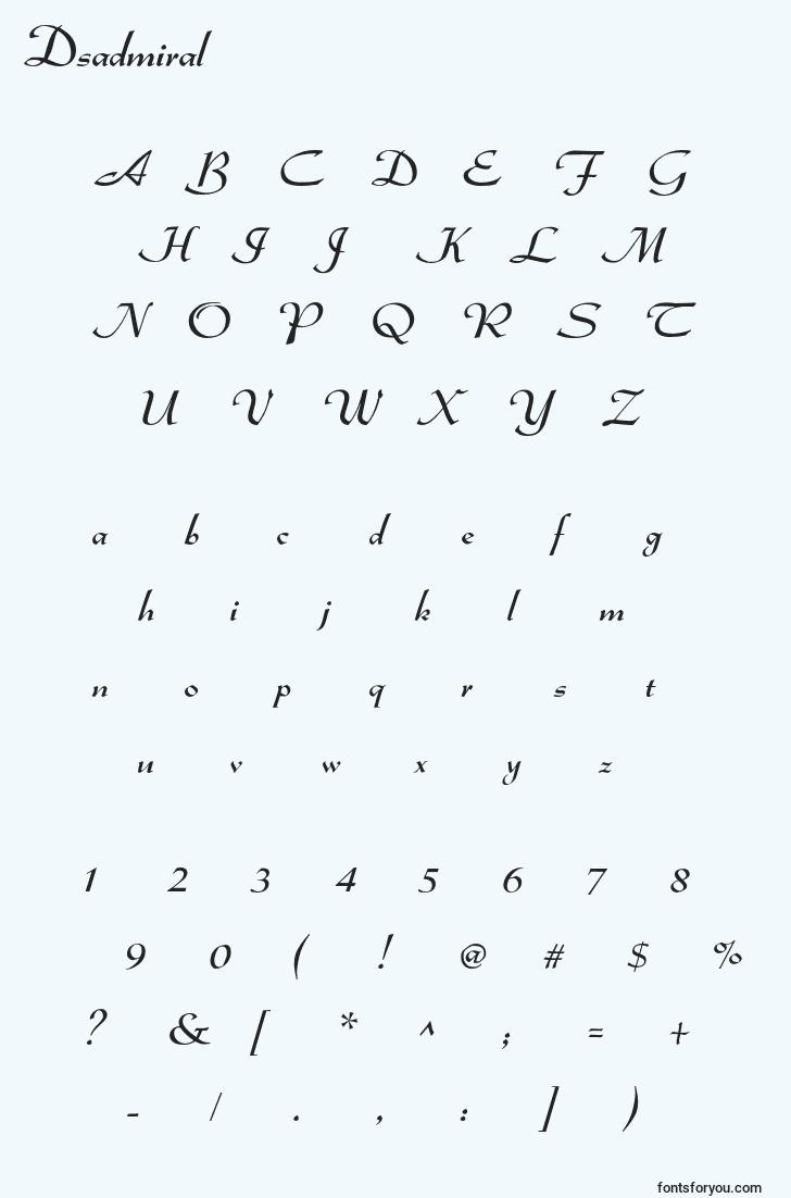 characters of dsadmiral font, letter of dsadmiral font, alphabet of  dsadmiral font