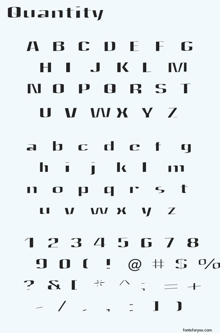 characters of quantity font, letter of quantity font, alphabet of  quantity font