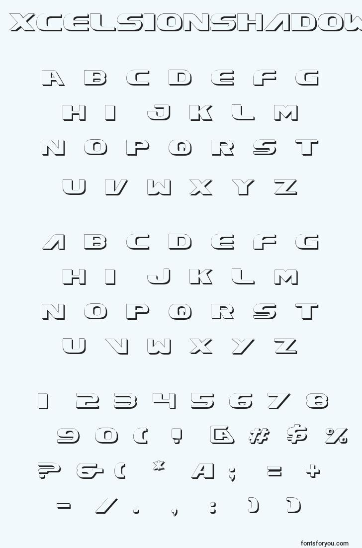 characters of xcelsionshadow font, letter of xcelsionshadow font, alphabet of  xcelsionshadow font